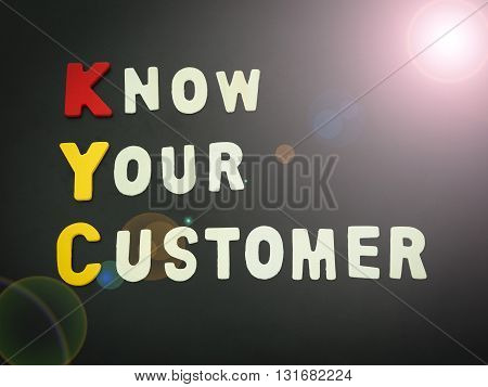 Business Acronym KYC. Know Your Customer or Know Your Client.