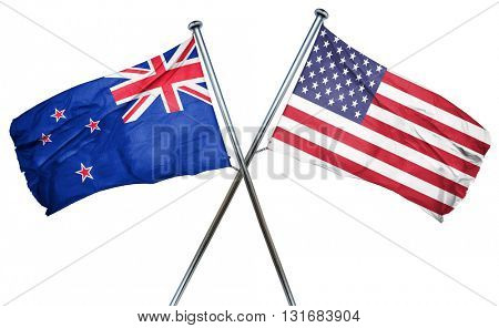 New zealand flag with american flag, isolated on white backgroun