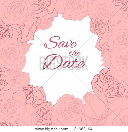 Postcard with pink delicate roses and place for text. Vector element for invitations brochures greeting cards and your design
