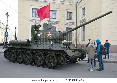 SAINT PETERSBURG, RUSSIA - MAY 05, 2015: Soviet tank of the Second world war, the T34-85 before the rehearsal of parade in honor of Victory Day