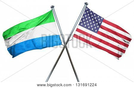 Sierra Leone flag with american flag, isolated on white backgrou