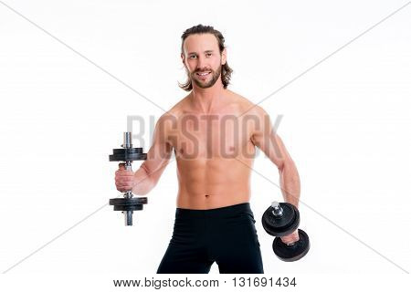 Young Man With Exercised Body Train With Bar-bell