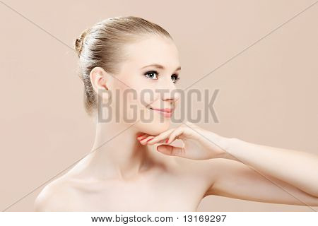 Portrait of a styled professional model. Theme: beauty, healthcare.