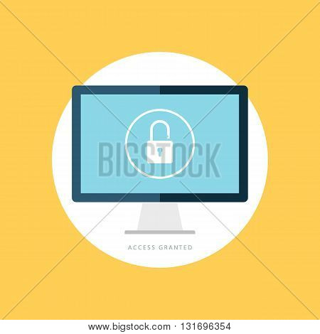 Access granted icon. Data protection sign. Internet security symbol. Flat vector illustration.