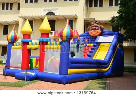 Children's Inflatable Castle Playground at outdoor, bangkok