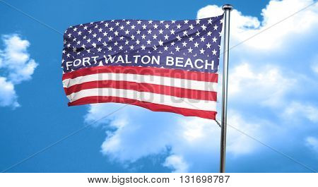 fort walton beach, 3D rendering, city flag with stars and stripe