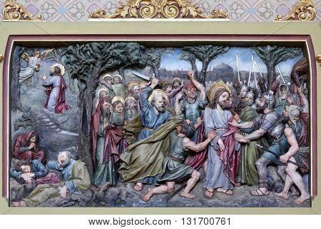 STITAR, CROATIA - AUGUST 27: Jesus in the Garden of Gethsemane, altarpiece in church of Saint Matthew in Stitar, Croatia on August 27, 2015