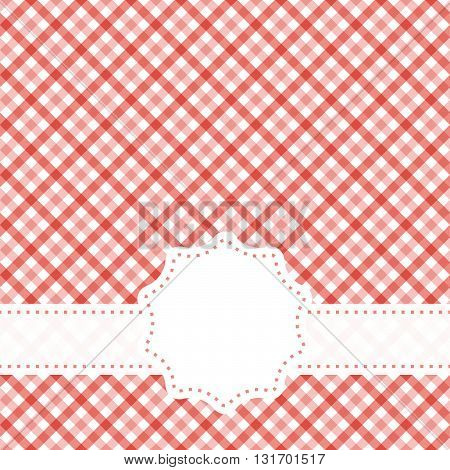 red colored checkered table cloth pattern with free banner for text