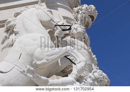 Detail of the statue of King José I in the Commerce Square in Lisbon
