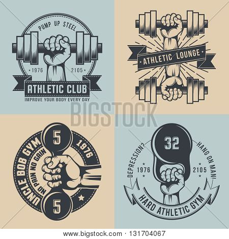 Gym logo in vintage style. Hand with dumbbell hand with kettlebell - hard athletic logo. Cross fit logo