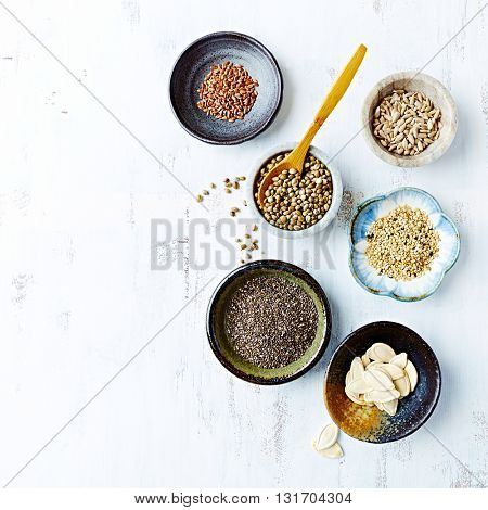 Assorted Oilseeds in Ceramic Dishes