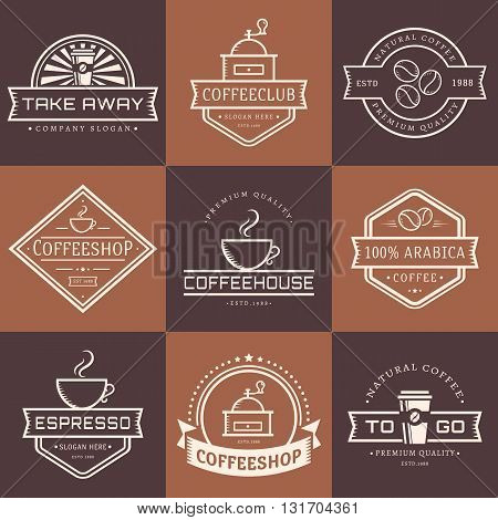 Coffee logo collection. Templates in outline style. Set of retro labels for coffee shop or cafe. Isolated white logotypes on brown stickers. Vector illustration.