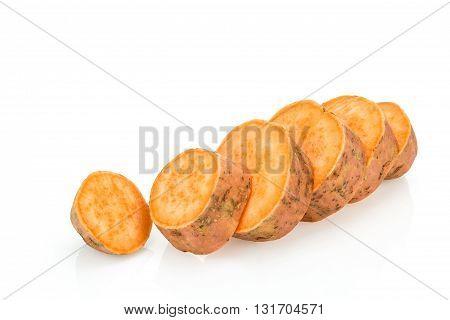 Fresh Sweet Potato Sliced , Isolated On White Background