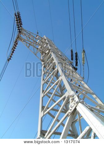 Electricity Pilon And Cabling At Blue Sky3