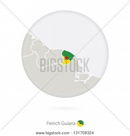 Map Of French Guiana And National Flag In A Circle.