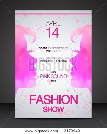 Vector stylish banner poster and flyer for fashion show with face to face pink silhouette of beautiful women part of profile