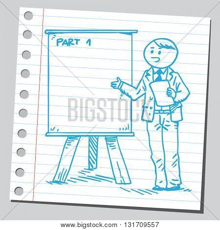 Businessman business teacher on presentation