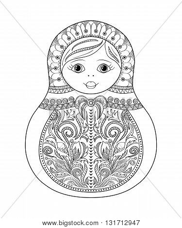 Vector coloring book for adult and kids - russian matrioshka doll. Hand drawn zentangle with floral and ethnic ornaments. Page for relax and meditation