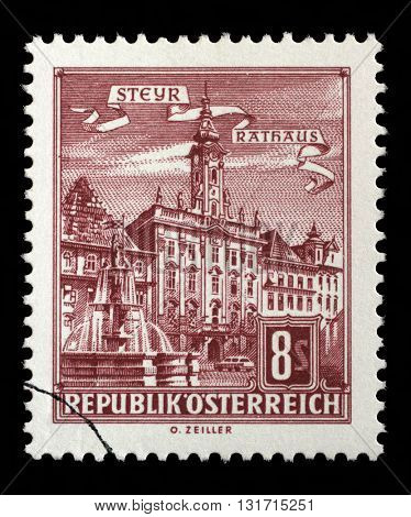 ZAGREB, CROATIA - SEPTEMBER 13: A stamp printed in Austria from the Architectural Monuments in Austria  issue shows City Hall, Steyr, circa 1965, on September 13, 2014, Zagreb, Croatia