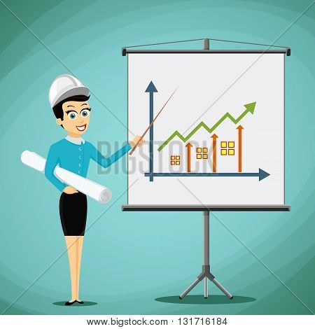 Woman engineer showing on the board a graph of real estate growth. Stock vector illustration.