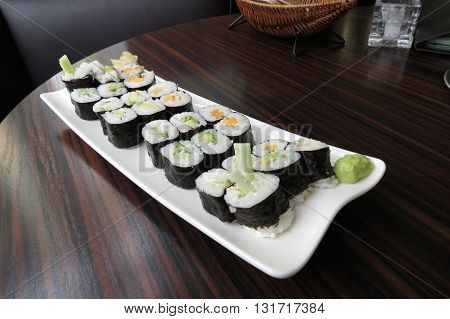 Kappa (cucumber) avocado and oshinko (pickled daikon) vegan maki