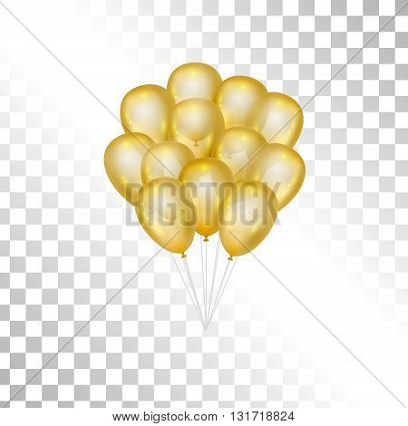 Balloons on transparent background. Vector elements for greeting cards. Gold bunch of balloons isolated. 3d design.