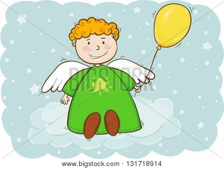 Vector illustration of angel boy with baloon