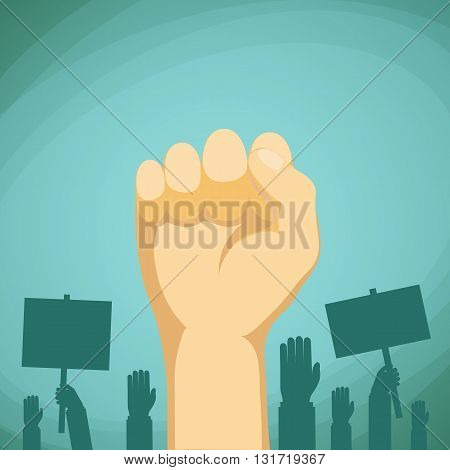 Raised hand with fist. Demonstration and protest. Stock vector cartoon illustration.