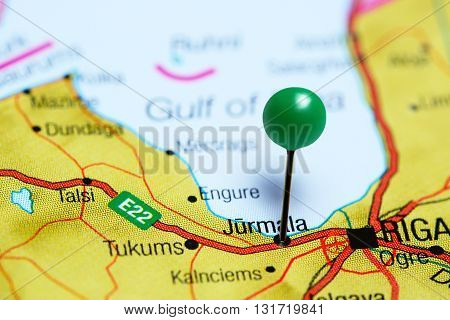 Jurmala pinned on a map of Latvia