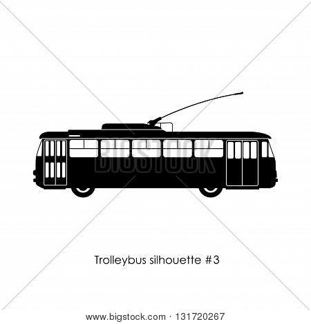 Black silhouette of trolley bus on a white background. Retro trolleybus. Vector illustration