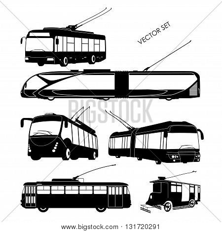 Set trolley bus silhouettes on a white background. Vector illustration