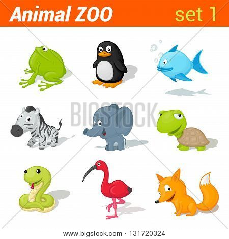 Funny children animals icon set. Kid language learning elements. Frog, penguin, fish, zebra, elephant, turtle, snake, ibis bird, fox. Animal Zoo collection.