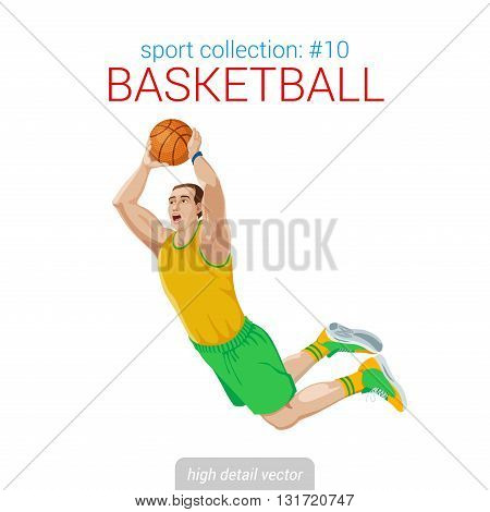 Sportsmen vector collection. Basketball player slam dunk jam jump. Sportsman high detail illustration.