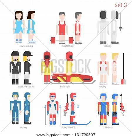Flat style sportsmen people vector icon set. Female figure skater, weightlifter, fencer, equestrian, bobsled, rower, skater, skier and bobsley. Flat sportsman peolpe collection.