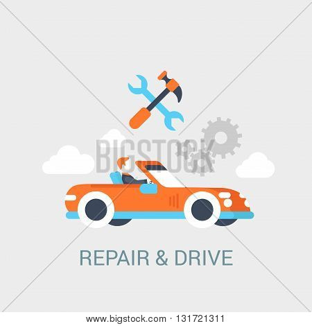 Car repair service concept flat icon sportcar