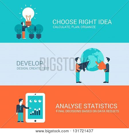 Business technology startup new business concept flat icons set