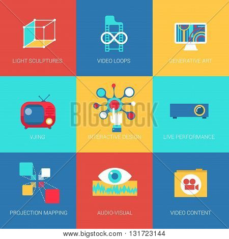Flat icons set virtual reality live performance interactive design projection mapping web click infographics style vector illustration concept collection.