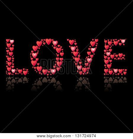 Romantic background with title Love. Title shape is filled by red hearts. Different size of hearts. Reflection under title.