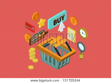 Flat 3d isometric concept vector web infographics shopping cart