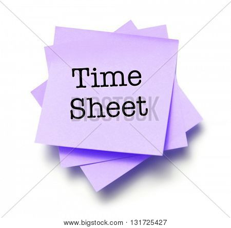 Time Sheet written on a note