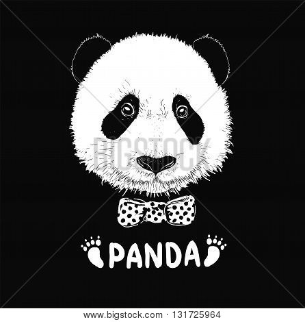 simple sign a panda - design template. Baby panda face icon. Baby panda. Asian bear. Cute panda. Positive panda. Isolated panda head on white background. Panda head silhouette
