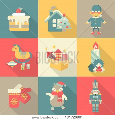Christmas characters sweets New Year icon set flat style concept
