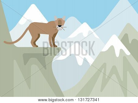 Puma lynx bobcat winter mountain flat cartoon wild animal