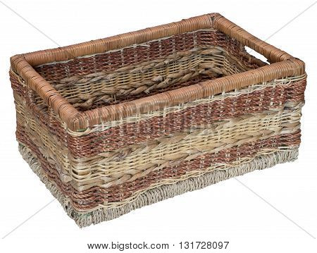 Three-quarter view of empty wicker basket. Isolated on the white background. No shadow.