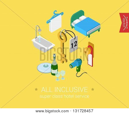Inclusive room service flat 3d isometric vector: room objects