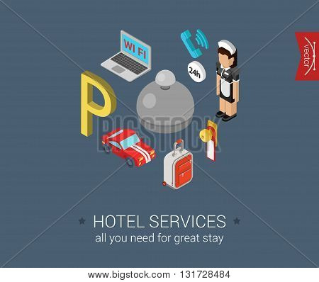 Hotel service flat 3d isometric vector infographic