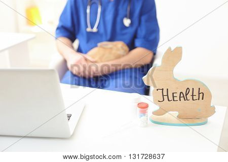 Health of animal in your hands. Professional male vet is sitting and holding a rabbit. Focus on figure of rabbit, pills and laptop on the table