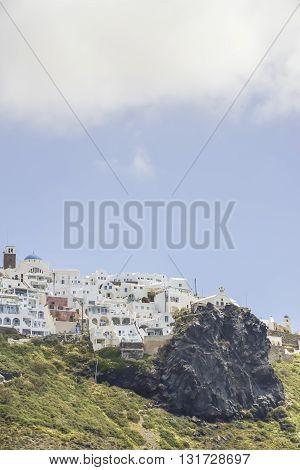 Traditional village Imerovigli on Santorini island Greece