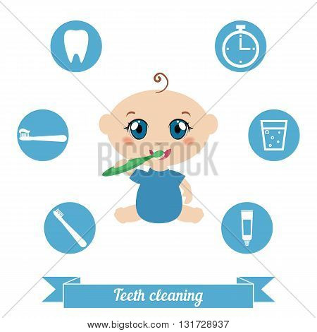 Little baby brushing his teeth. Health care concept.
