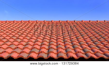 the red ceramic roof tile with sun light and blue skyred ceramic roof tils and sunlight with the wide screen frame